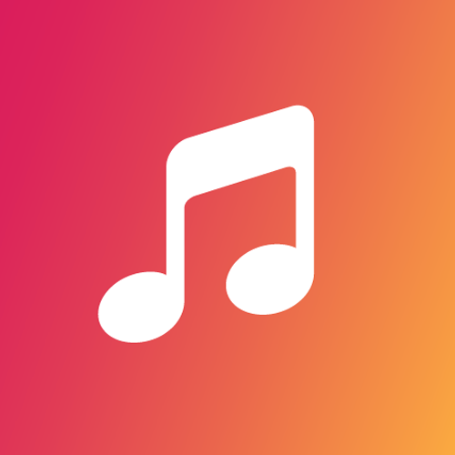 white music note with green background