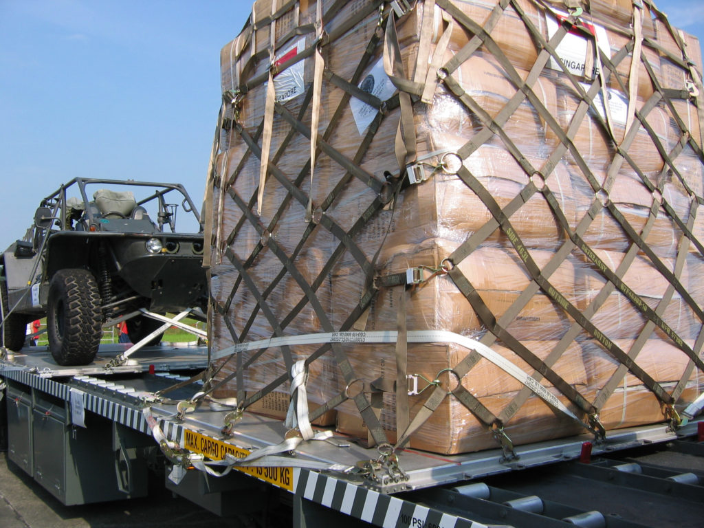 Military cargo bags on truck with vehicle for war