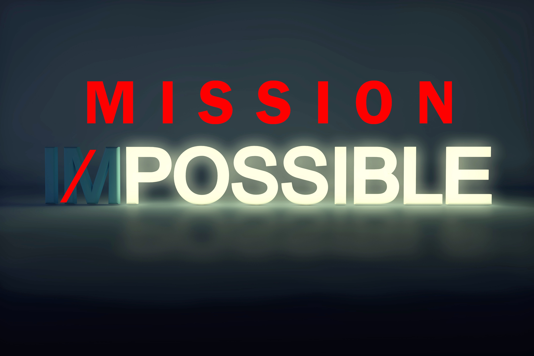 bright glowing possible stands out from the word Impossible