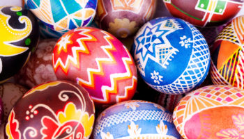 Mix of colored eggs with the traditional designs