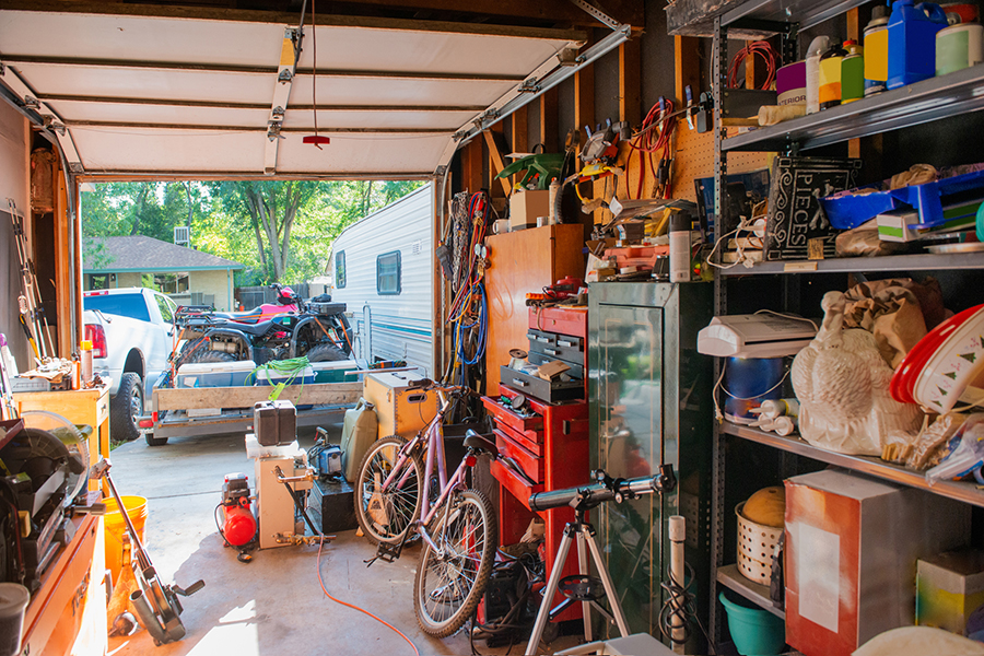 A garage full of miscellaneous items